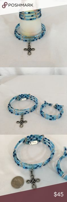 Blue Glass & Celtic Cross Set Blue glass beads & memory wire make up this 2 piece necklace/bracelet set. Finished with Celtic cross. Handmade by me. 🚫No trades🚫 ps-creations Jewelry