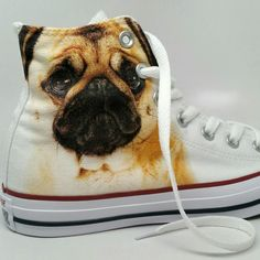 Custom Converse PUG life - Nothing cuter than putting your pug on some chucks. Discount code is pet25 for $25 off