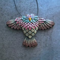 Pink Plumed Winged Owl Sculpted Millefiori Pendant by Deb Hart