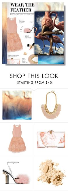 """WEAR THE FEATHER"" by larissa-takahassi ❤ liked on Polyvore featuring Deepa Gurnani, Alice + Olivia, Charlotte Olympia, Marco de Vincenzo, Chanel, Kate Spade, Bobbi Brown Cosmetics, Old Navy, gold and peach"