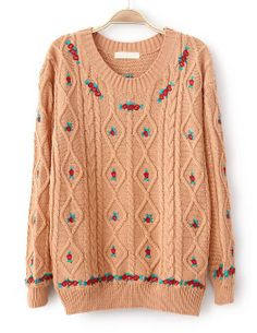 To find out about the Pink Long Sleeve Embroidery Cable Knit Sweater at SHEIN, part of our latest Sweaters ready to shop online today! Sweater Hoodie, Cable Knit Sweaters, Comfortable Outfits, Sweater Fashion, Sweater Weather, Cheap Dresses, Pretty Outfits, Knitwear, Tejidos