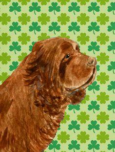 Sussex Spaniel St. Patrick's Day Shamrock Portrait 2-Sided Garden Flag