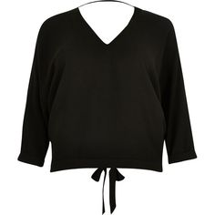 River Island Black tie back V-neck top (760 MXN) ❤ liked on Polyvore featuring tops, blouses, three quarter sleeve tops, womens plus tops, plus size tops, tie back blouse and tie blouse