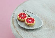Ruby Grapefruit Earrings by shayaaron on Etsy
