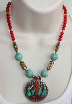 Tibetan Style Dragon antique gold leather thong Necklace Pendant Handmade
