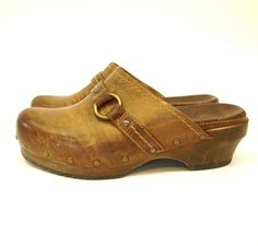 Vintage Brown Leather Frye Clogs 7.5 on Etsy, $28.00