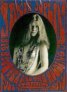 Psychedelic-style poster for the July 11, 1970 concert in San Diego with Janis Joplin photo.