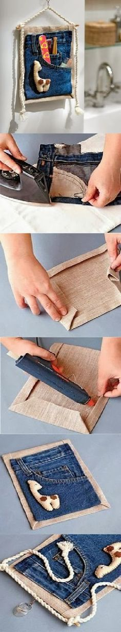 DIY FAN PAGE: Recycling jeans to the holder Housewares