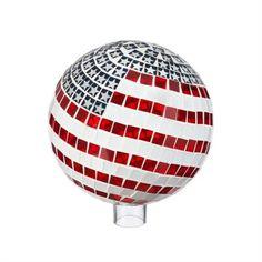 "Patriotic Mosaic Glass Gazing Ball 10"" #farmhousedecor  #gardendecor"