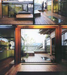 한옥을 현대식으로 바꾸려는 시도는 많지만 대부분 '전통 한옥'의 단단한 틀 안에 머무르기 마련이다. 전통적인 모습은 그대로 보존하면서 가구만은 서양 것을 들여놓아 이래저래 어색한 공간을 마주하기도 한다. 사진에 보이는 이 대범한 한옥은 이태리에서 온 건축가 시모네카레나씨와 그의