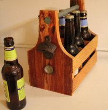 Drinking craft beer has never been so easy!  Carry your beer/soda in style with this custom 6-pack carrier. Complete with a bottle opener and magnetic cap-catcher, this carrier is unique and functional. The structure is solidly composed of pine, and/or fir from deconstructed homes in Detroit, MI. The handle is made of poplar, which is sourced from a local hardware store.  HANDLE COLORS: Dark Red, Gray, Dark Brown, or Natural Wood  DIMENSIONS: 11 H x 10.5 W x 6.5 D  CHEERS