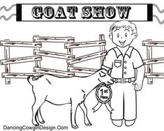 boy with goat at livestock show free coloring page