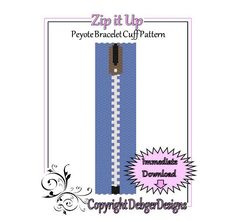 Zip it Up  Beaded Peyote Bracelet Cuff by FUNPATTERNDESIGNS, $4.50
