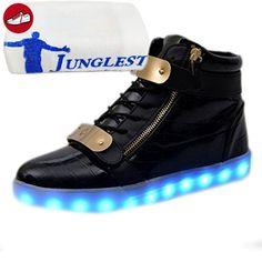 (Present:kleines Handtuch)Schwarz EU 38, JUNGLEST® Top Schuhe High Farbwechsel mode Leuchtende Freizeit Damen Light Led Spo