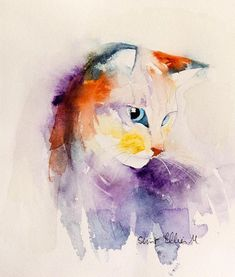 Original watercolor painting of a cat - cat portrait - original painting of a cat - gift idea - pet watercolor ▶ Original watercolor painting : Cat portrait painted by Martine Jacquel Saint Ellier ▶ MATERIALS painted on top quality paper 100% cotton - 140lbs - acid free with