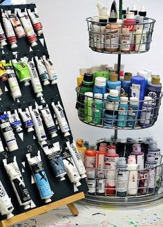 Store & Organize Art Supplies: 6 Ways to Store Paint Tubes and Bottles - art supplies storage and organization - Art Supplies Storage, Craft Room Storage, Organize Art Supplies, Craft Rooms, Paint Supplies, Paper Storage, My Art Studio, Painting Studio, Studio Ideas