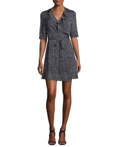 DIANE VON FURSTENBERG Savilla Ruffle-Trim Silk Jersey Wrap Dress, Stella Mini Black. #dianevonfurstenberg #cloth #