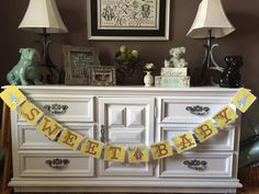 Sweet Baby Shower Banner, Gender Neutral Baby Shower Banner, Bird Theme with Birdhouse, Yellow, Blue, White and Pink