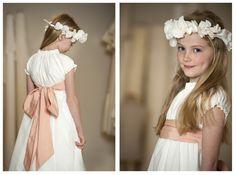 First Communion Dress www.piccolielfi.it..I had a beautiful flower head band that my m om made, its hanging in Johanna's room..LOVE IT!