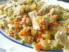 Couscous con verdure e pollo, piatto di tradizione orientale, piatto unico, semplice da preparare, piatto a base di verdure, carni bianche, ricetta light