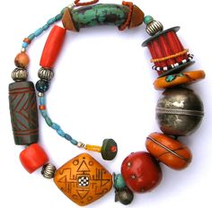 Necklace | Tory Hughes. 'Berber Queen'. 2009.  Polymer, metal and glass.