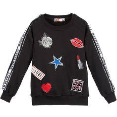 MSGM Girls Black Sweatshirt with Logo Ribbon Sleeves at Childrensalon.com
