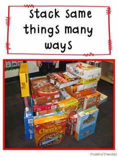 Grocery Store Theme:  In the blocks center, students are building with cereal boxes!  Pocket of Preschool