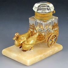 Antique French Palais Royal Figural Inkwell, Ducks Pulling Cart
