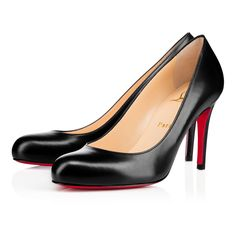 """The ever-graceful """"Simple Pump"""" is the shoe Monsieur Louboutin says every lady should have in her closet. The round toe and sturdy stiletto heel make for a classic shape that glows from sunrise to sunset, and beyond. This 85mm version in black leather is a top choice for your closet in need."""
