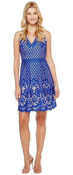 Adrianna Papell V-Neck Halter Giselle Lace Fit and Flare Dress (Ultramarine/Bisque) Women's Dress - Adrianna Papell, V-Neck Halter Giselle Lace Fit and Flare Dress, 013262410-401, Apparel Top Dress, Dress, Top, Apparel, Clothes Clothing, Gift - Outfit Ideas And Street Style 2017