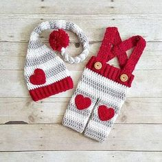 Crochet Baby Valentine's Day Hat Beanie Stocking Cap Pants Overalls Set Striped Heart Infant Newborn Baby Toddler Child Adult Handmade Photography Photo Prop Baby Shower Gift Present
