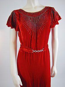 1930s long red velvet beaded gown, very deco.