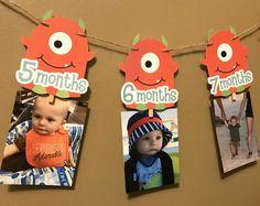 1 - 12 meses Monster foto Banner - impreso