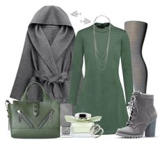 """""""Gray, Green and Silver"""" by nitas-corner ❤ liked on Polyvore featuring WithChic, Falke, Être Cécile, JustFab, Edge of Ember, Kenzo, Burberry, Chloé and Rebecca Minkoff"""