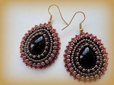 Bead Embroidered Earrings Black drop Cabochon by KristinesBeads, $30.00
