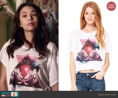 Mona's triangle and tigers graphic tee on Pretty Little Liars.  Outfit Details: http://wornontv.net/45157/ #PLL