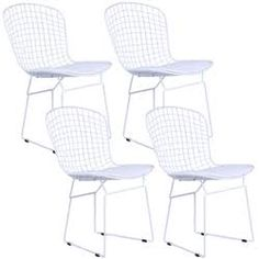 Bertoia style wire side chair in white base set of 4 more