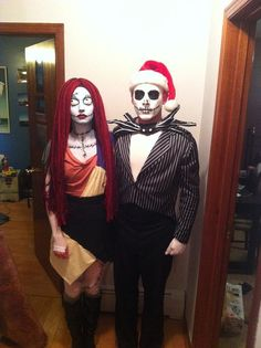 Sally and Jack Skellington You guys will be the spookiest couple at the party. What you need to do: For the girls, sew patches of cloth together to make the rag-doll dress, and draw on Sally's makeup. For the guys, all you need is a striped suit, a bow (which you can make from construction paper), the right makeup, and a Santa hat. Source: Reddit user luxuri via Imgur