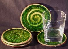 These sparkly coasters are made from recycled glass infused pottery {not a good link, just reference photo} Ceramic Jewelry, Ceramic Clay, Ceramic Pottery, Ceramic Techniques, Pottery Techniques, Ceramics Projects, Clay Projects, Lantern Set, Ceramic Coasters