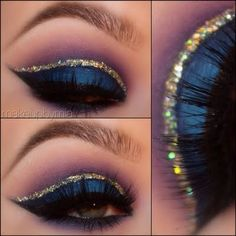 This Arabic inspired eye makeup look uses gold glitters for the crease and dark blue eyeshadow all over the lids. Click for the list of products to DIY here.