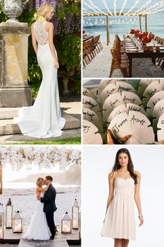 Dreaming of a beautiful Coastal Ceremony? Make your wedding dreams a reality with our help. See which wedding dress and bridesmaids dresses to choose and get some diy inspo on our blog now for your beach wedding! #camillelavie