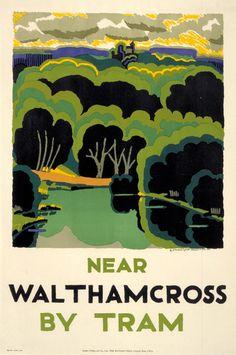 Near Waltham Cross by tram, by Edward McKnight Kauffer, 1924