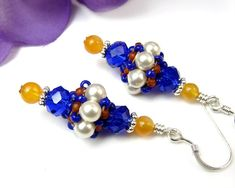 Cobalt Blue and White Pearl African Bead Earrings by PrettyGonzo