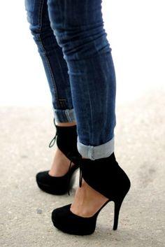 Black high heels with narrow bottom skinnies