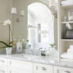 White bathroom decor decorating the guest bath bathroom traditional bathroom bathroom bathroom design small beige and Bad Inspiration, Bathroom Inspiration, Bathroom Ideas, Bathroom Styling, Bathroom Renos, Bathroom Remodeling, Bath Ideas, Shower Ideas, Diy Shower