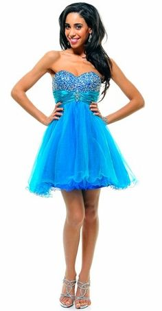 Tulle Cocktail Turquoise/Royal Prom Baby Doll Dress Short Sequin Top $135.99