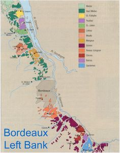 Map of Bordeaux Left Bank AOC and Communes Level Wines: Medoc, Haut Medoc (St. Estephe, Pauillac, St. Julian, Margaux, Listrac, Moulis), Pessac-Leognan, Grave, Sauternes, Barsac.