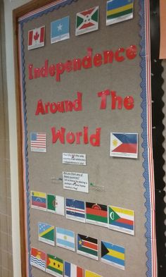 "It's ""Independence Around the World"" at El Centro College Library, recognizing independence days celebrated in countries other than the U.S. during the month of July.   Students and staff are welcome to place a pushpin on their home country's flag."