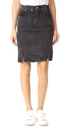 3.1 PHILLIP LIM Denim Asymmetrical Skirt With Zipper in Bl4Ck