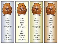Printable Bookmarks Cute Hamster, Reading, Kids Party Favors, by joyart, $3.00